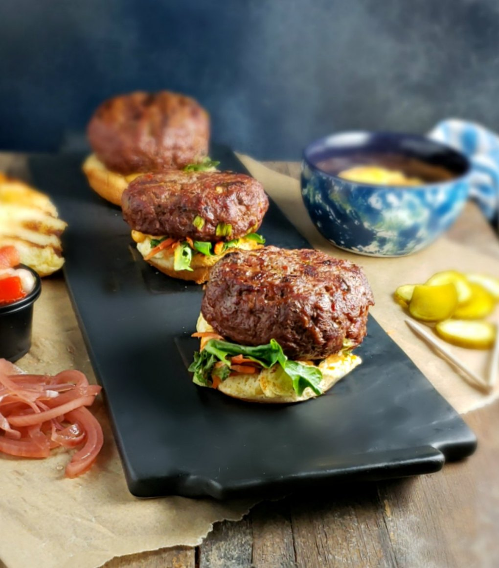 Feta Stuffed Harissa Sliders
