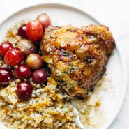 Skillet Chicken with Grapes and Caramelized Onions on a plate.