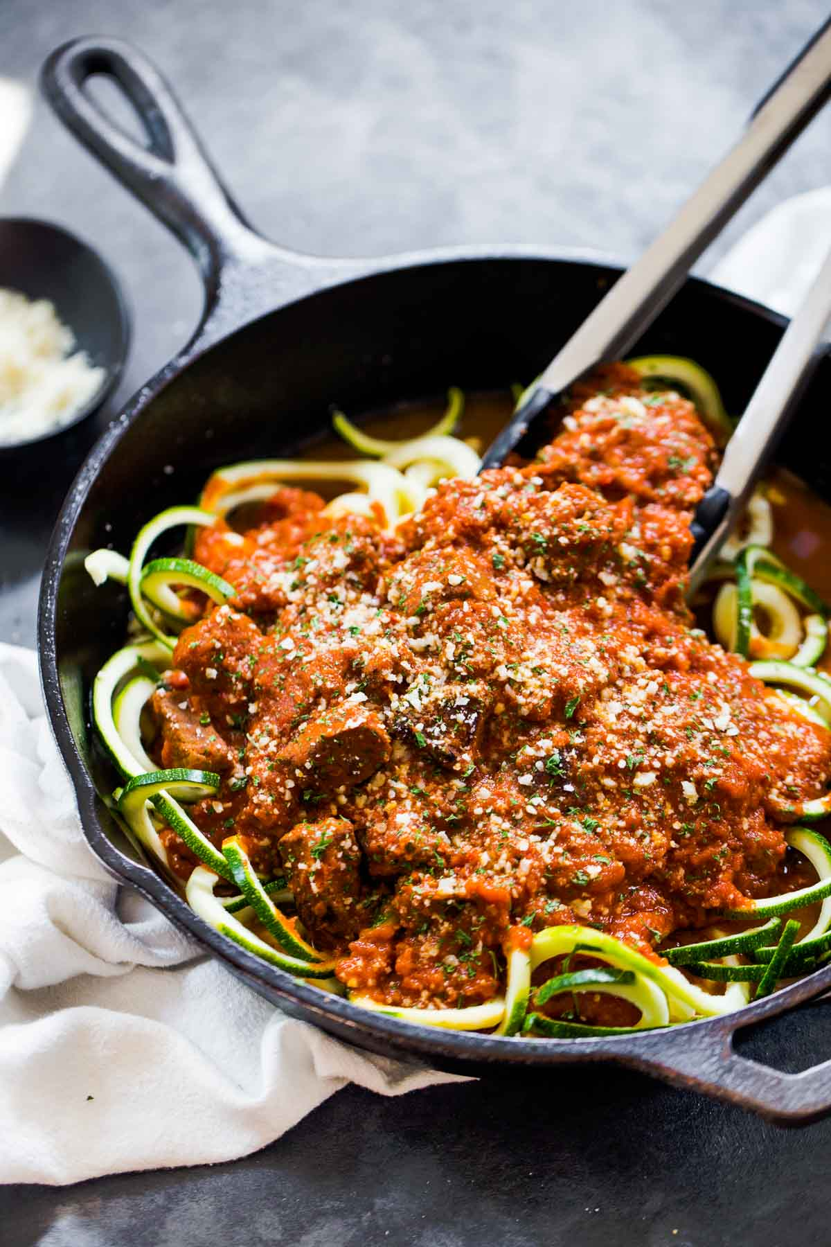 Only 4 ingredients and 20 minutes to make this Creamy Vodka Steak Pasta on zucchini noodles! So very simple and so delicious!   pinchofyum.com
