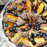 Blueberry Peach Cake in a baking pan.