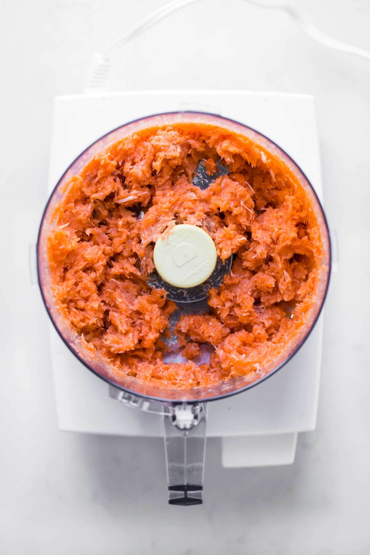 Meat in a food processor.