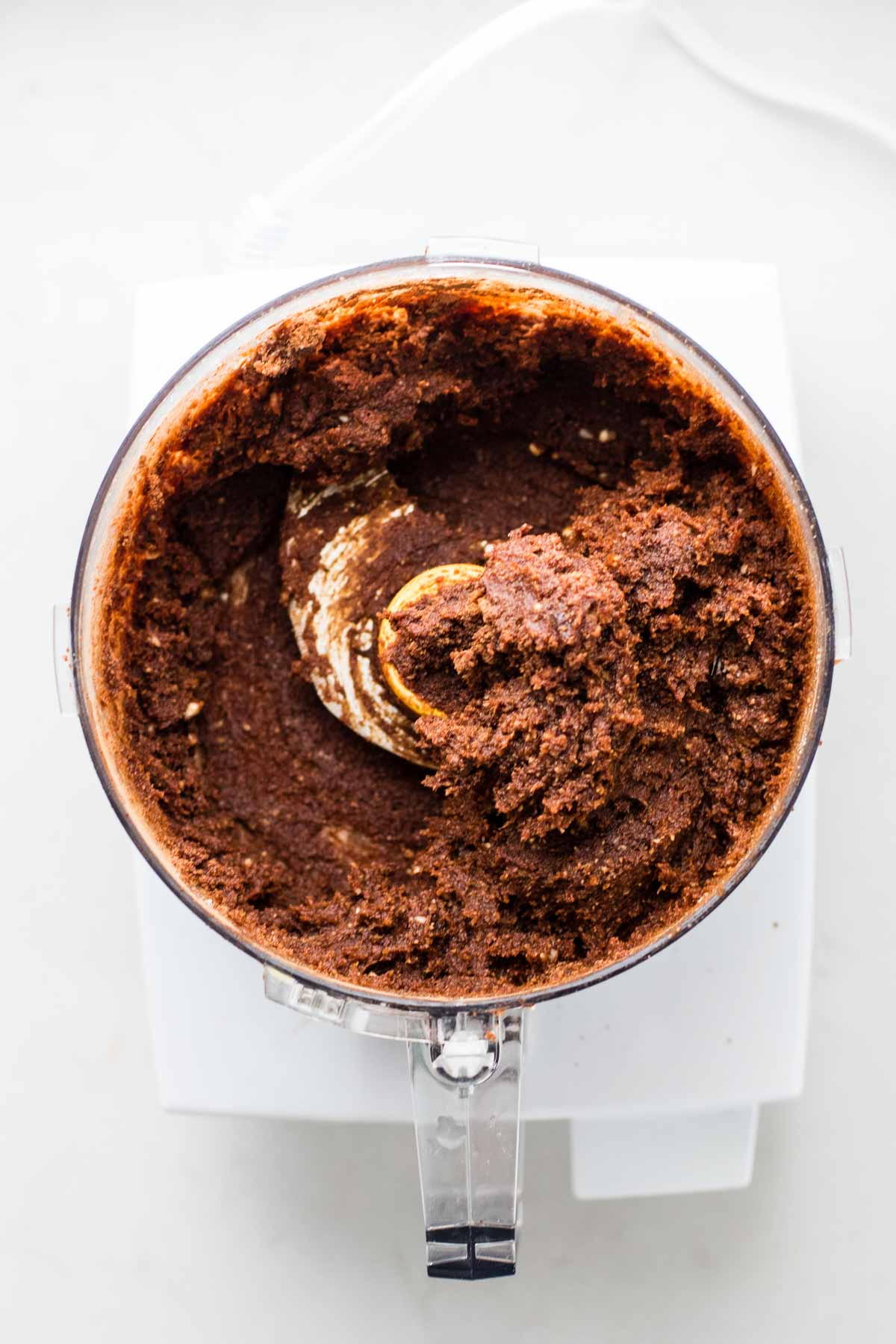 Chocolate in a food processor.