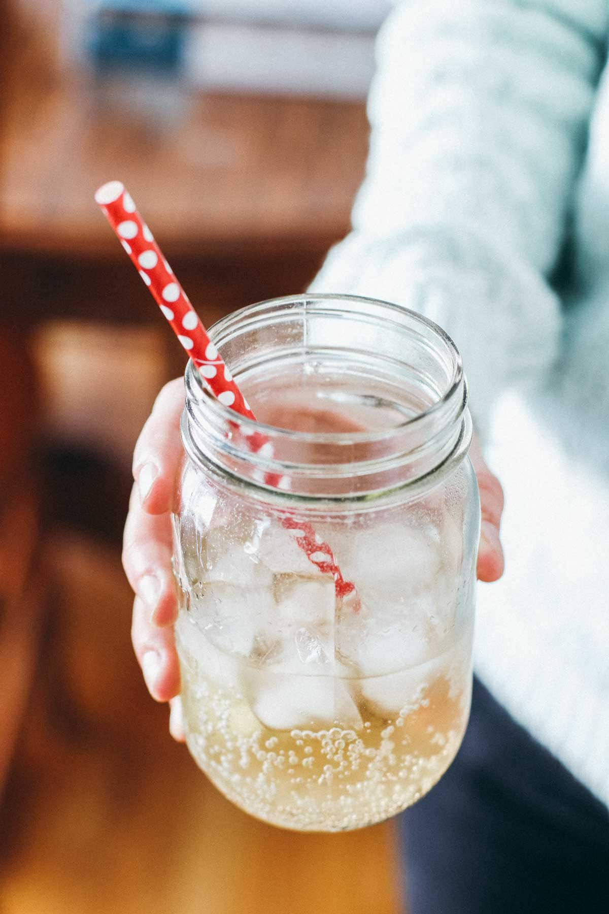 Drink in a jar with a straw.