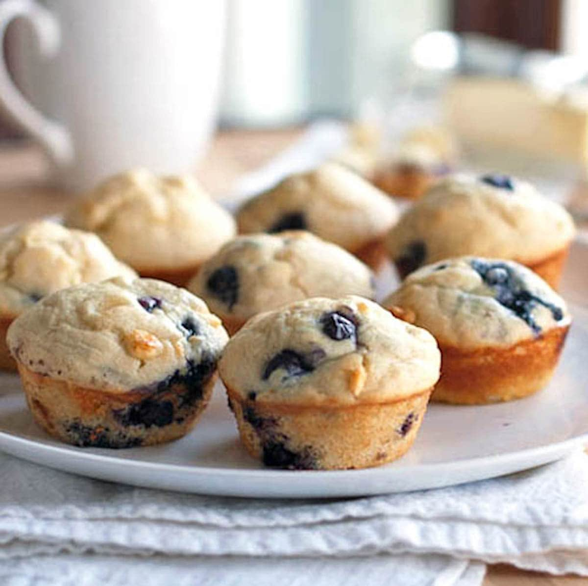 White chocolate blueberry muffins auf einem Teller.