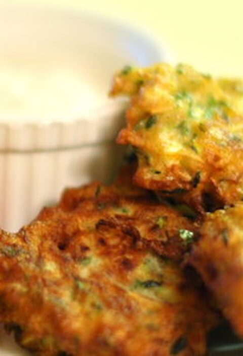 Zucchini Fritters with Goat Cheese Sauce