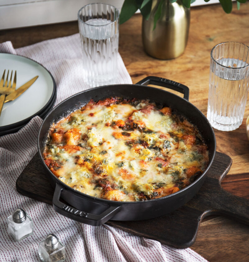 Oven Gnocchi with Gorgonzola and spinach