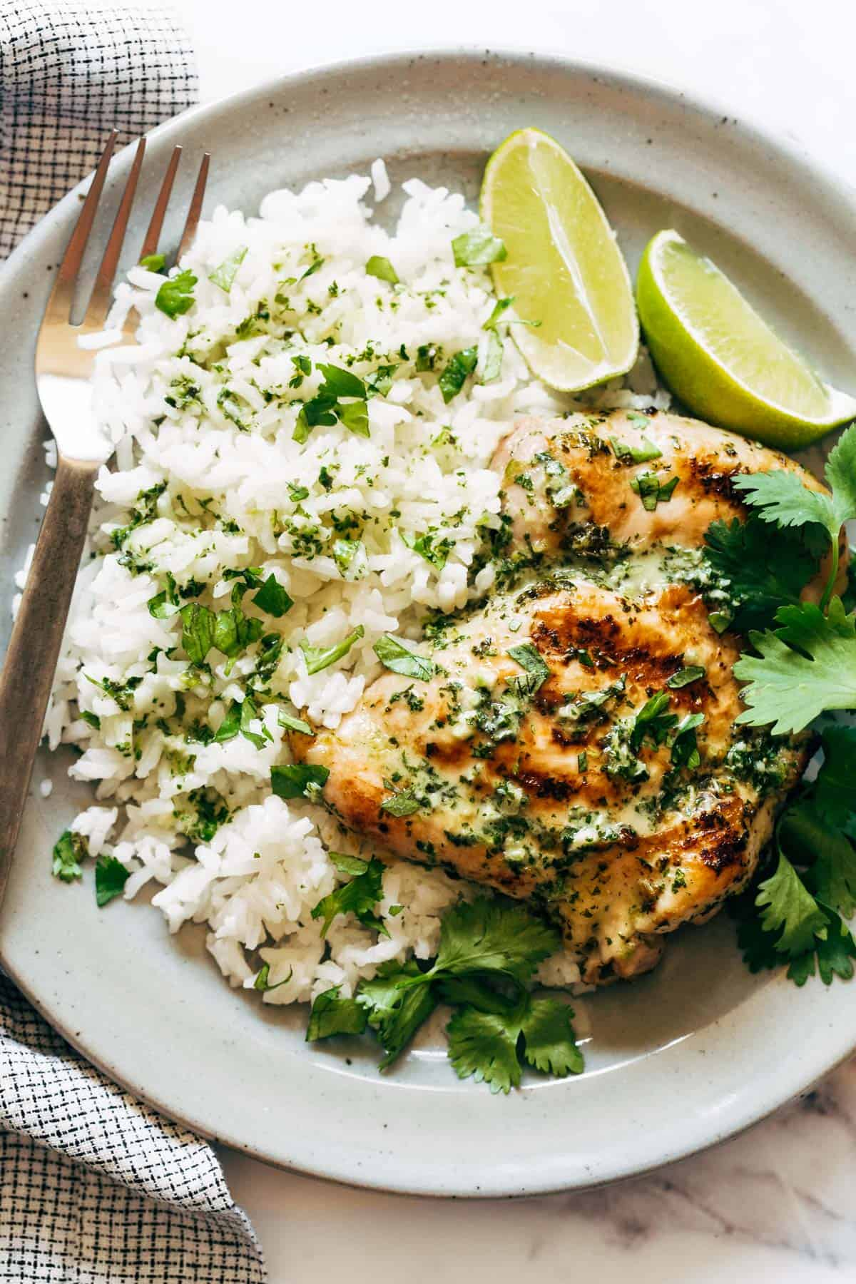 Coconut Lime Grilled Chicken with rice and cilantro on a plate.