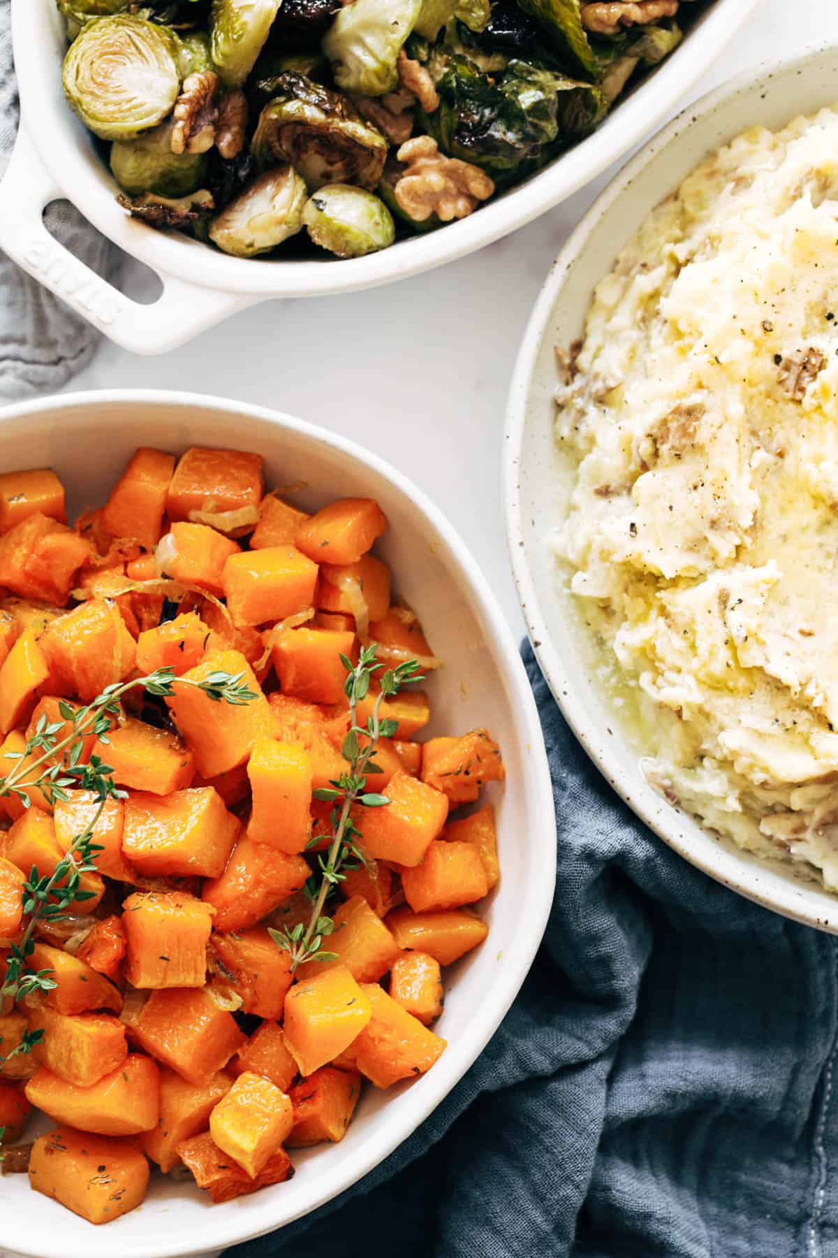 Thanksgiving sides in bowls.
