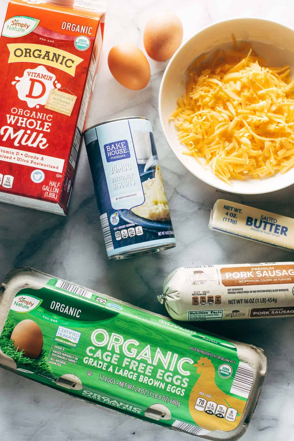 ALDI ingredients for biscuits and gravy egg bake.