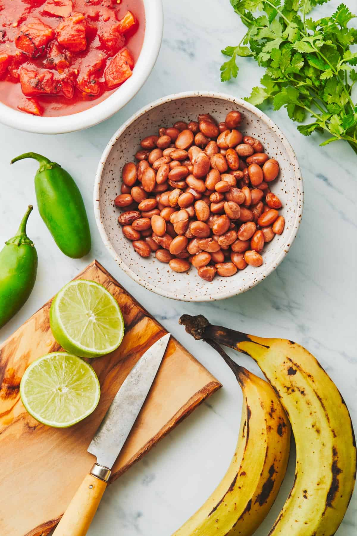Tomatoes, pinto beans, jalapeños, lime, plantains, and cilantro on a cutting board.
